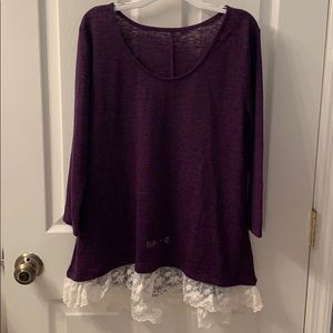 Arizona Jeans Purple Long Sleeved Top with Lace